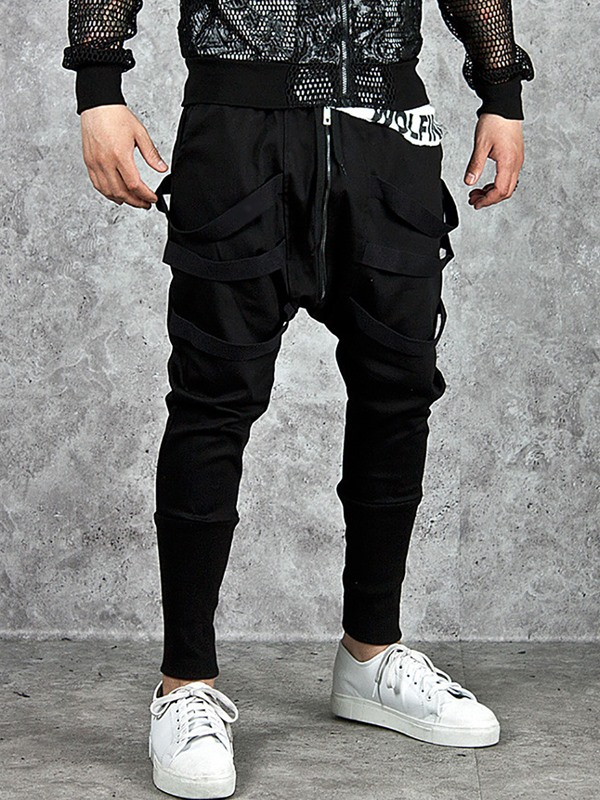 Plain Black Loose Baggy Men's Casual Pants