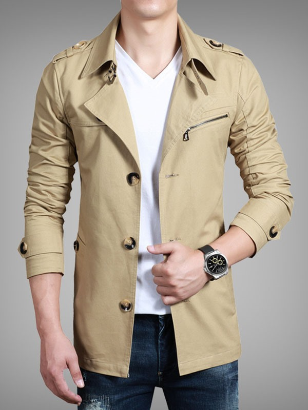 Lapel Plain Single-Breasted Slim Men's Trench Coat