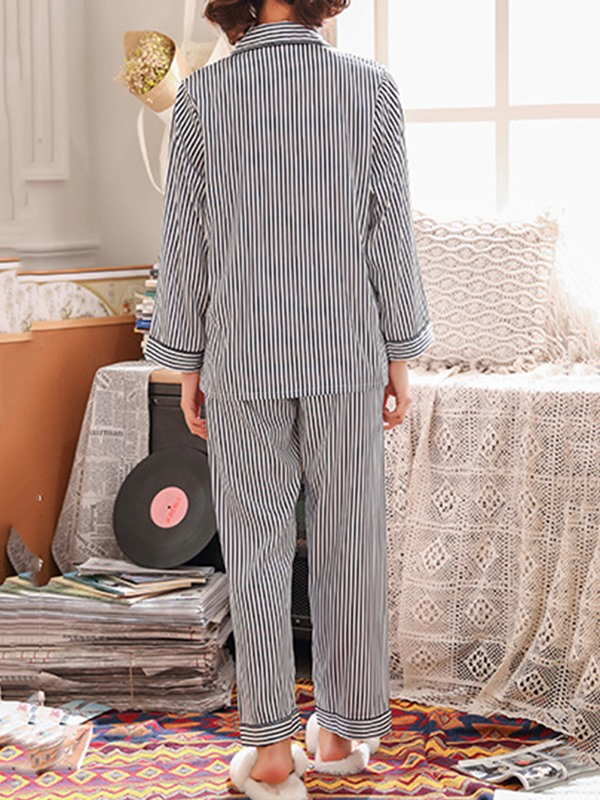 Simple Button Stripe Long Women's Pajama Set