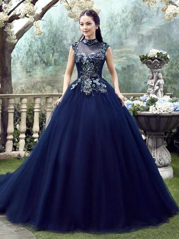 Floor-Length High Neck Ball Gown Cathedral Evening Dress 2019