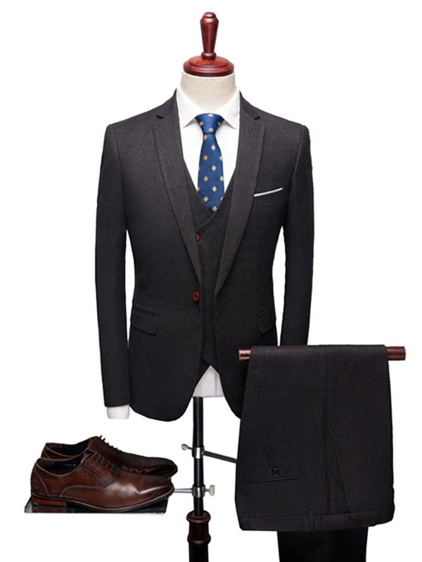 Formal Blazer Vest Pants One Button Plain Men's Dress Suit