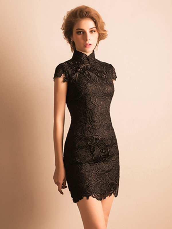 Lace Short Sleeves Short/Mini High Neck Cocktail Dress 2019
