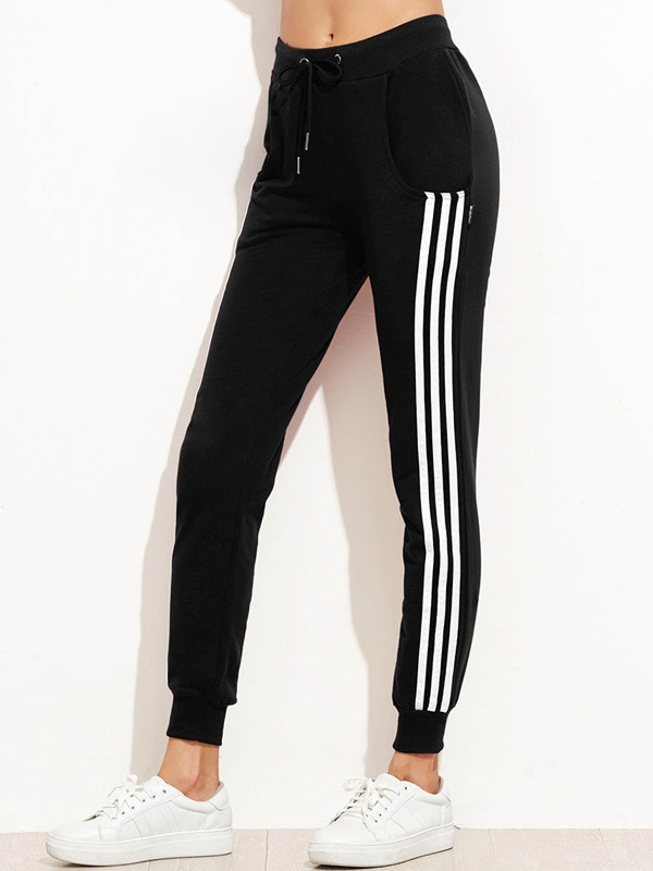 Side Stripe Loose Print Ankle Length Women's Casual Pants