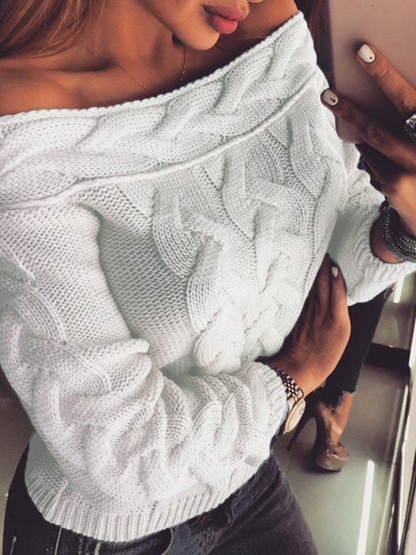 Thin Backless Off Shoulder Sexy Women's Sweater