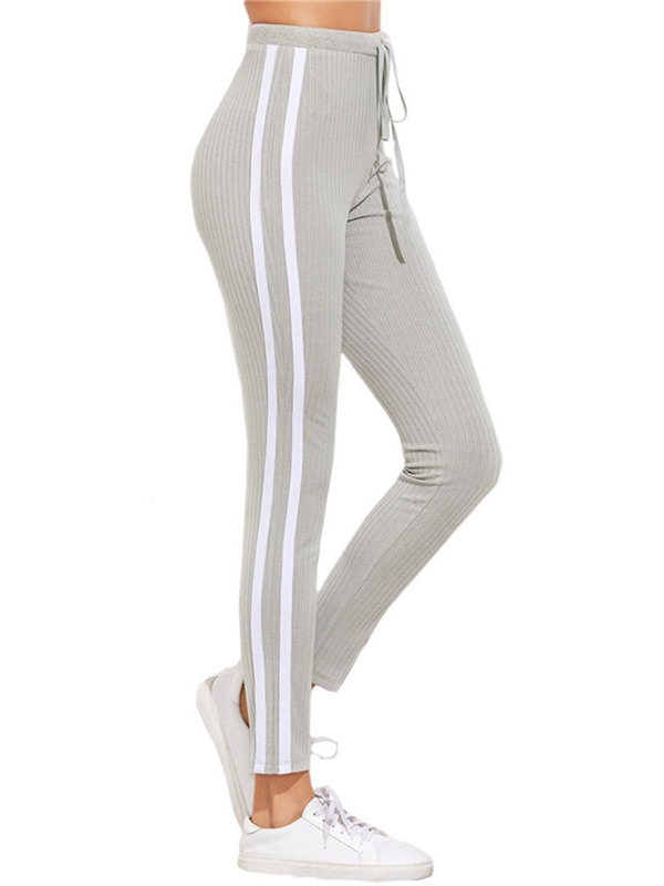 Stripe Skinny Lace-Up Full Length Mid-Waist Women's Casual Pants