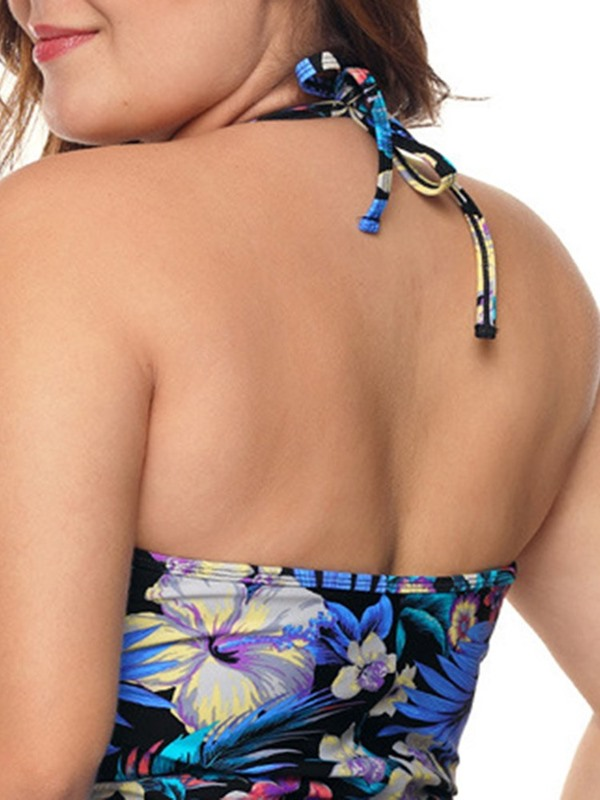 Plus Size Floral Lace-Up One Piece Swimwear