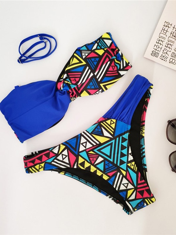 Lace-Up Color Block Bikini Set Swimwear