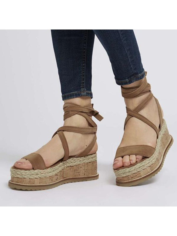 Faux Suede Lace-Up Wedge Heel Woven Women's Sandals
