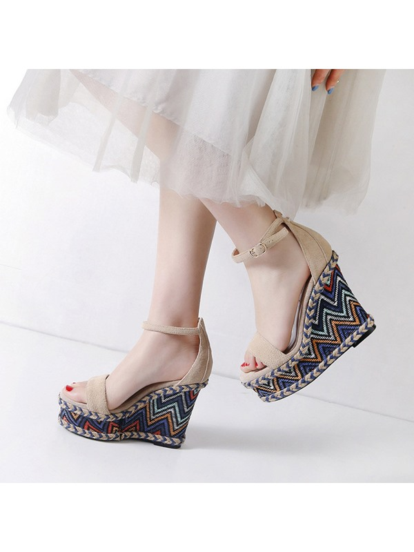 Plain Wedge Heel Heel Covering Women's Sandals