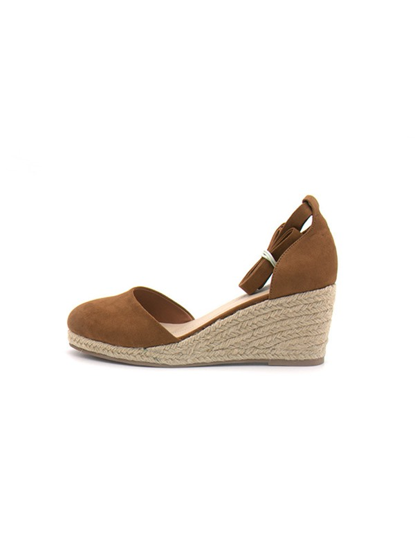 Plain Cross Strap Wedge Heel Women's Sandals