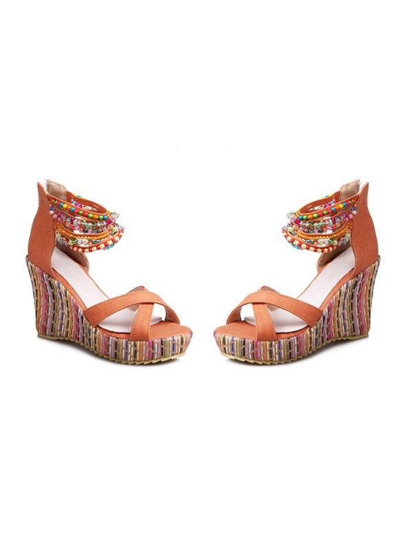 Beads Heel Covering Zipper Wedge Heel Women's Sandals