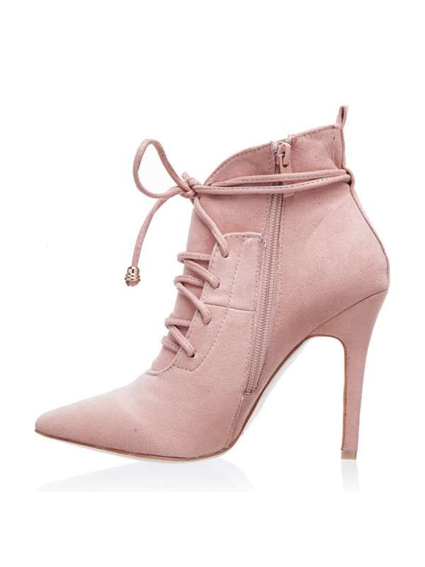 Plain Stiletto Heel Pointed Toe Lace-Up Women's Ankle Boots
