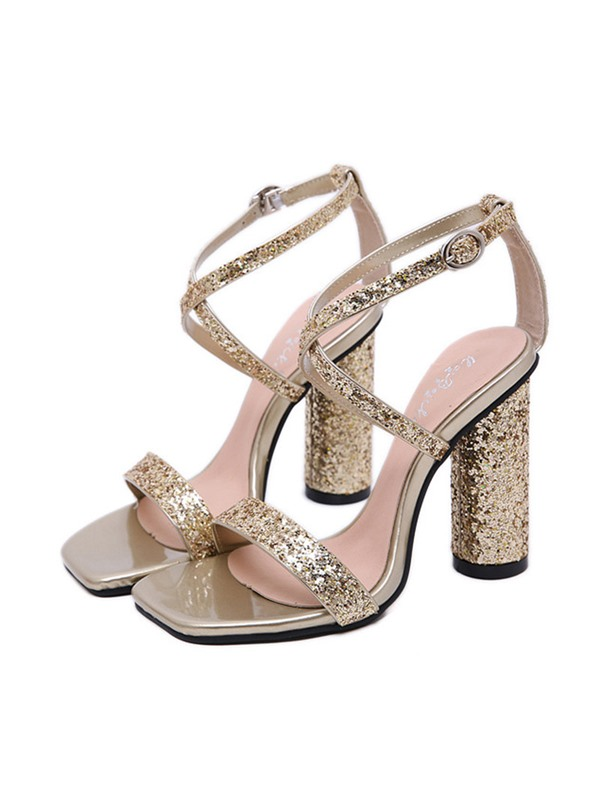 Sequin Chunky Heel Strappy Women's Sandals