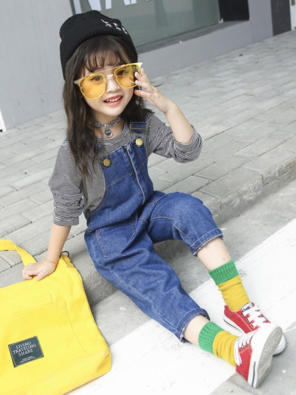 Plain Loose Harem Jeans Denim Zipper Girl's Overall