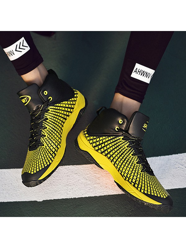 Color Block Lace-Up Round Toe Men's Chic Sneakers