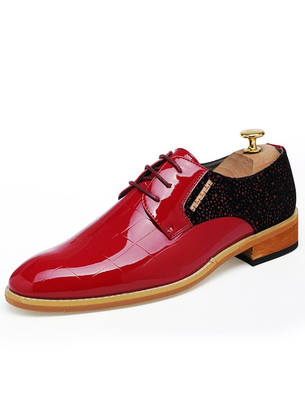 PU Rhinestone Patchwork Pointed Toe Men's Dress Shoes