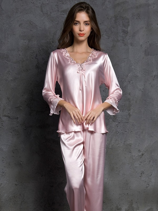 Plain Bowknot V-Neck Women's Pajama Set