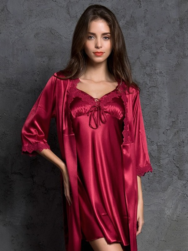 Plain Sexy Lace-Up V-Neck Women's Robe and Nightgown