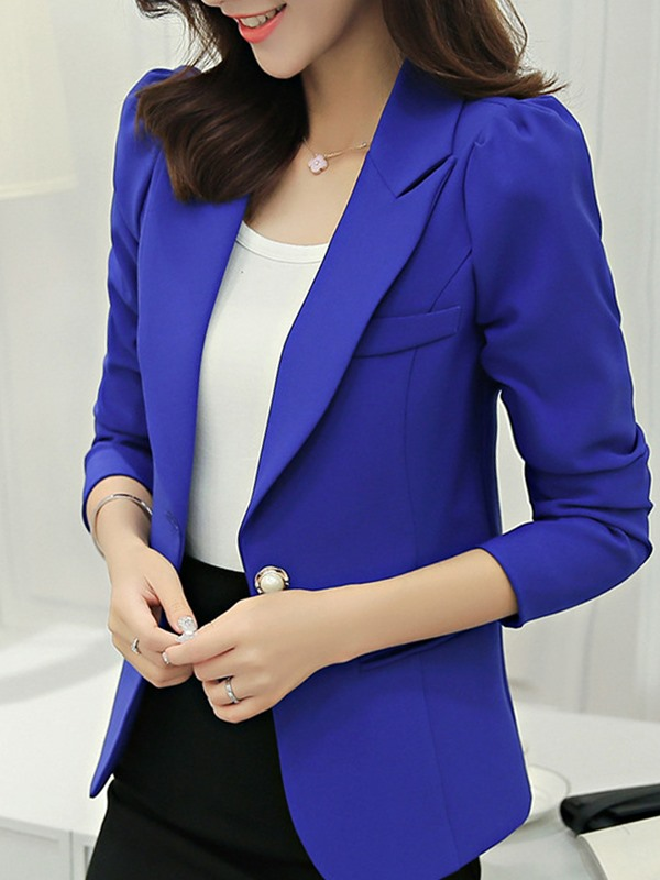 Notched Lapel Plain Long Sleeve Regular Standard Women's Casual Blazer