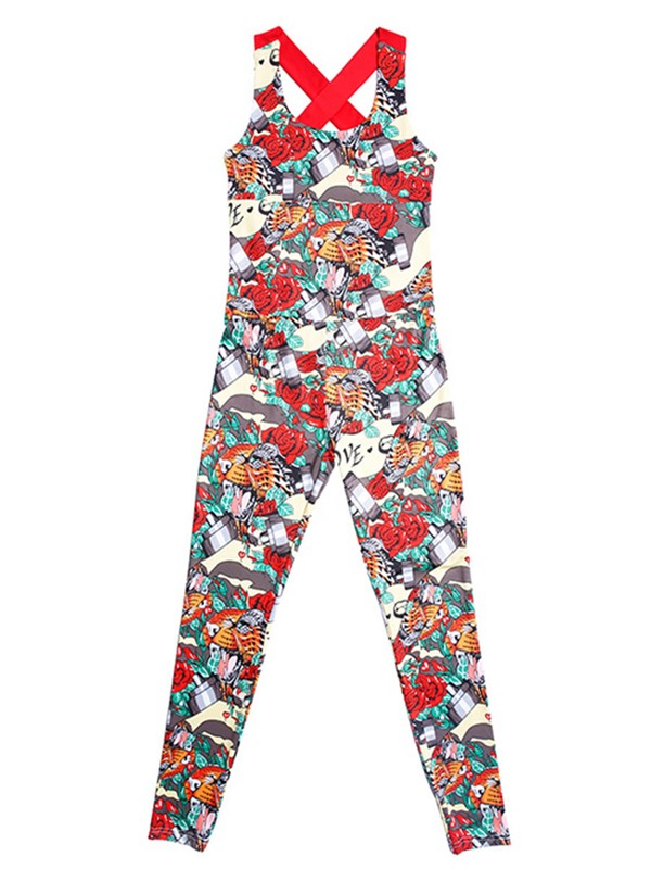 Floral Breathable Print Polyester Full Length Ping-Pong Pants