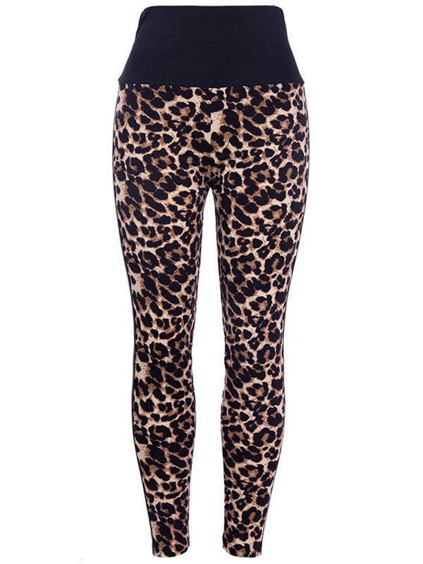 Polyester Patchwork Leopard Quick Dry Female Winter Pants