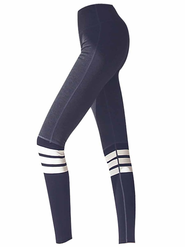 Workout Suit Stripe Tight Long Sleeves Sports Set