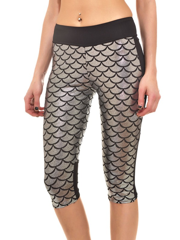 Fish Scale Knee Length Leggings for Women