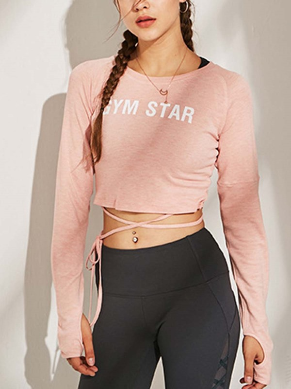 Letter Long Sleeves Thumbholes Yoga Tee