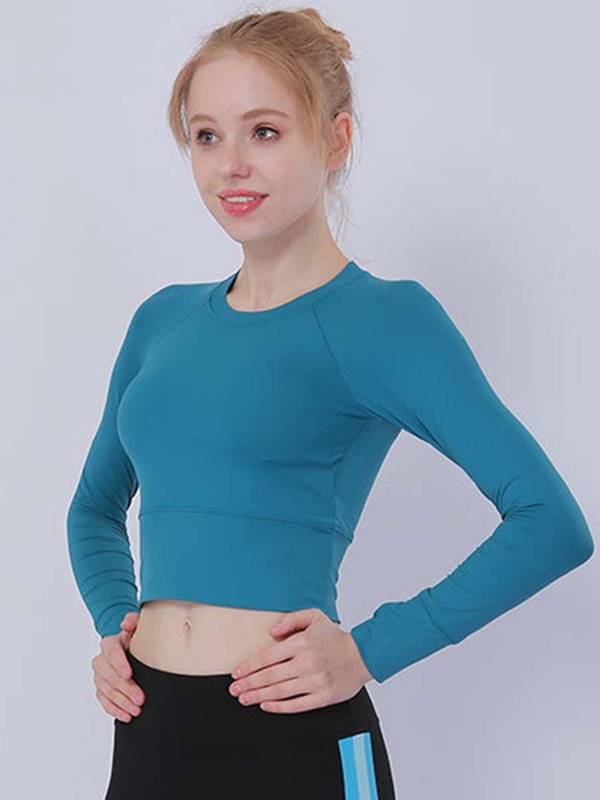 Quick Dry Plain Long Sleeves Half Sports Women's Top