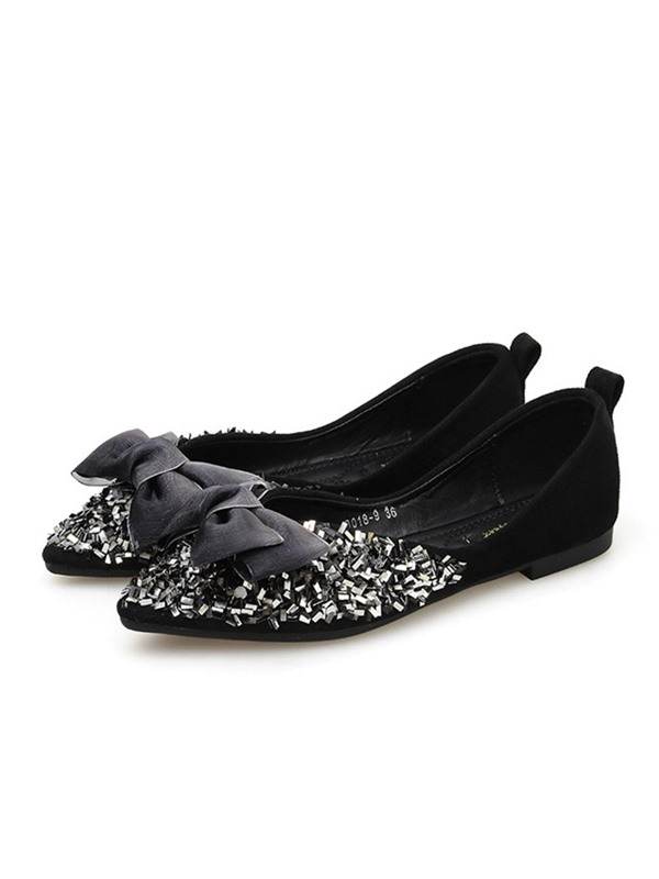 PU Sequin Pointed Toe Women's Flats