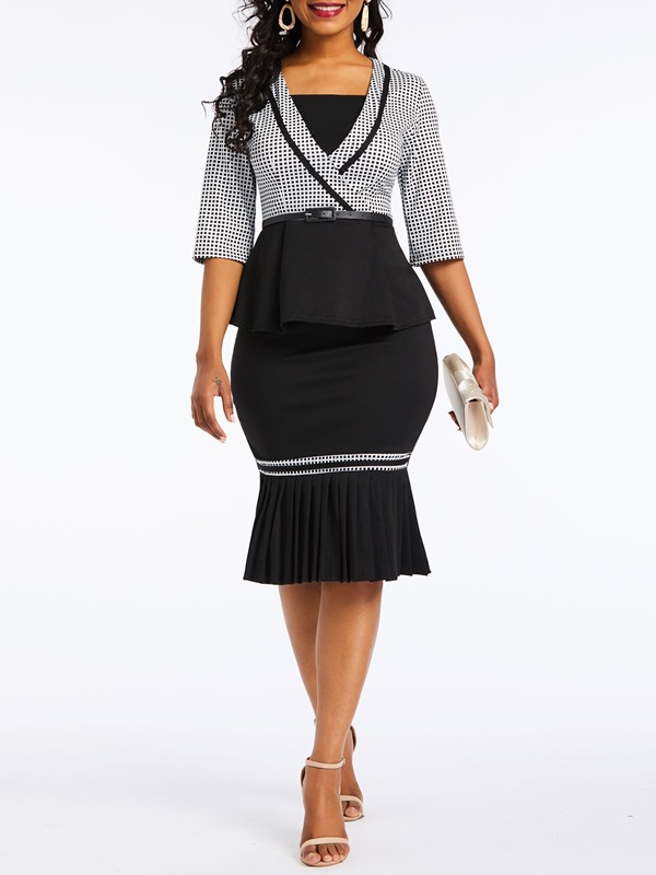 Wear to Work Shirt Houndstooth Bodycon Women's Two Piece Set