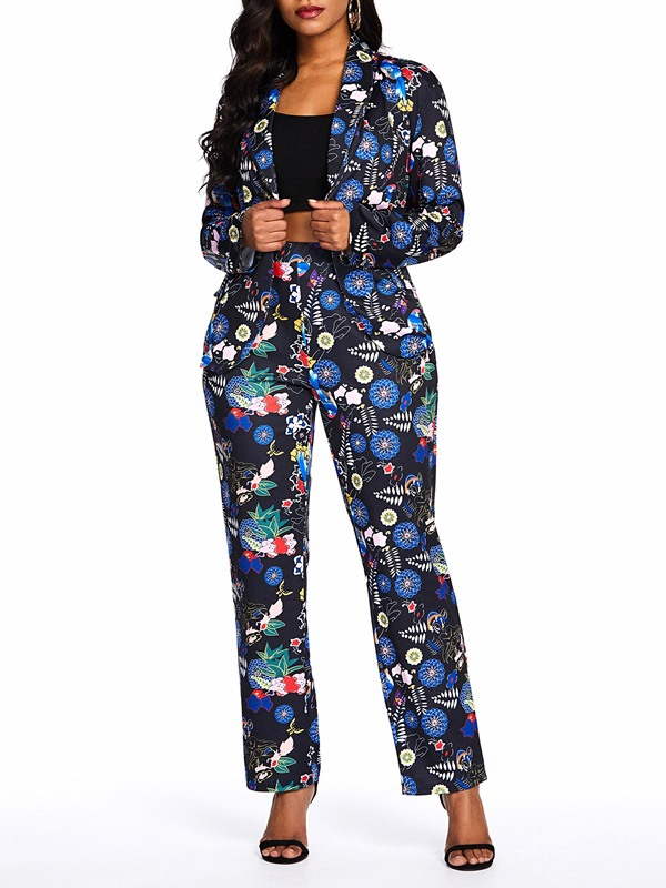 Floral Print Lapel One Button Coat Pants Women's Two Piece Set
