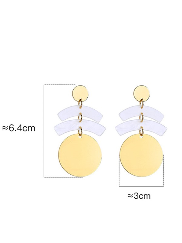 Golden Spangle Decorated E-Plating Drop Earrings