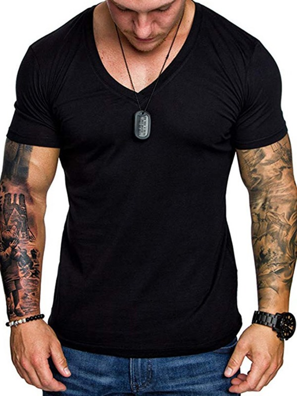 V-Neck Plain Short Sleeve Men's Slim Fit T-shirt