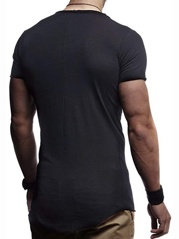 Round Neck Plain Slim Men's Short Sleeve T-shirt