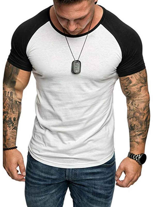 Color Block Patchwork Round Neck Short Sleeve Men's T-shirt
