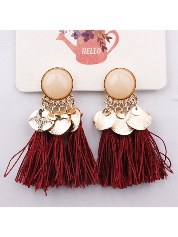 Tassel Resin Alloy Bohemian Drop Earrings