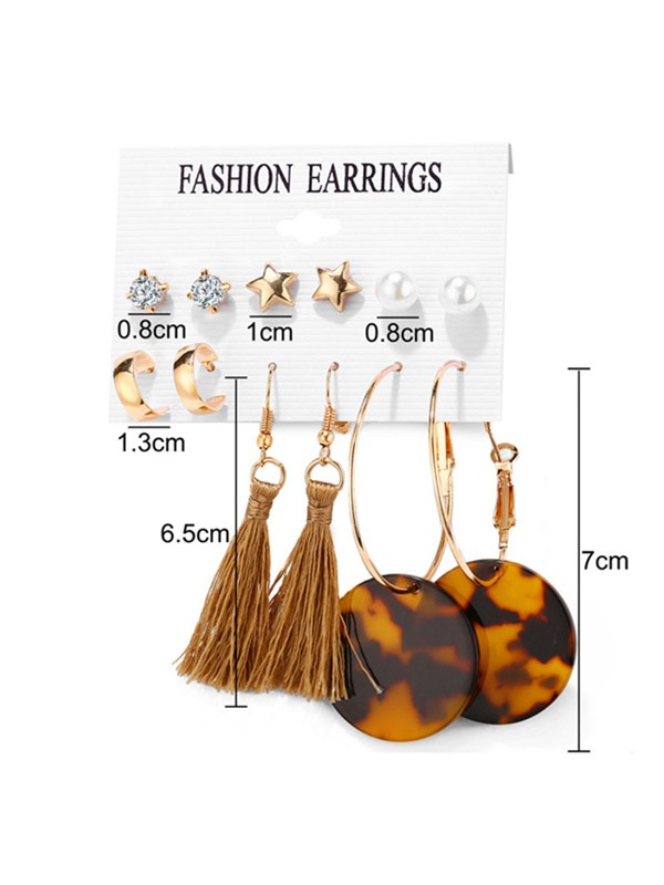 Golden Acrylic E-plating Alloy Earrings ( Price for 6 Pair )