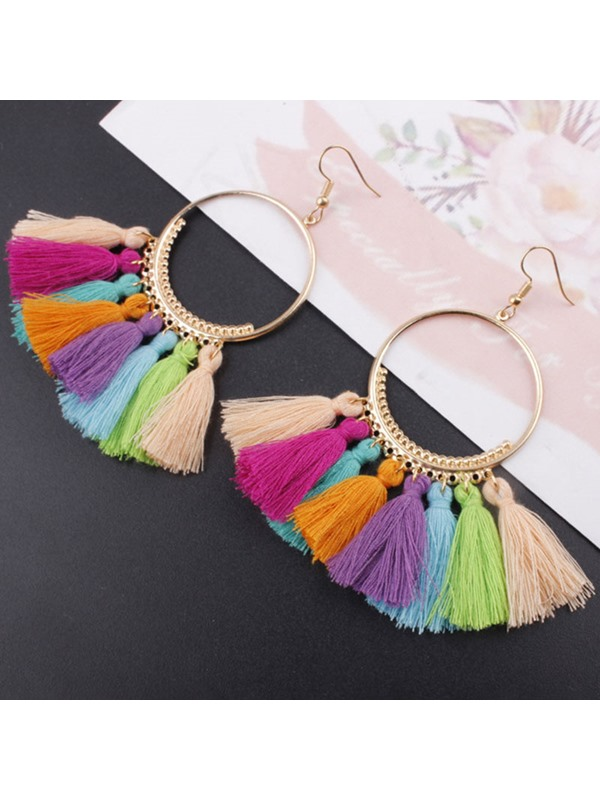 Colored Tassel E-Plating Alloy Bohemian Earrings