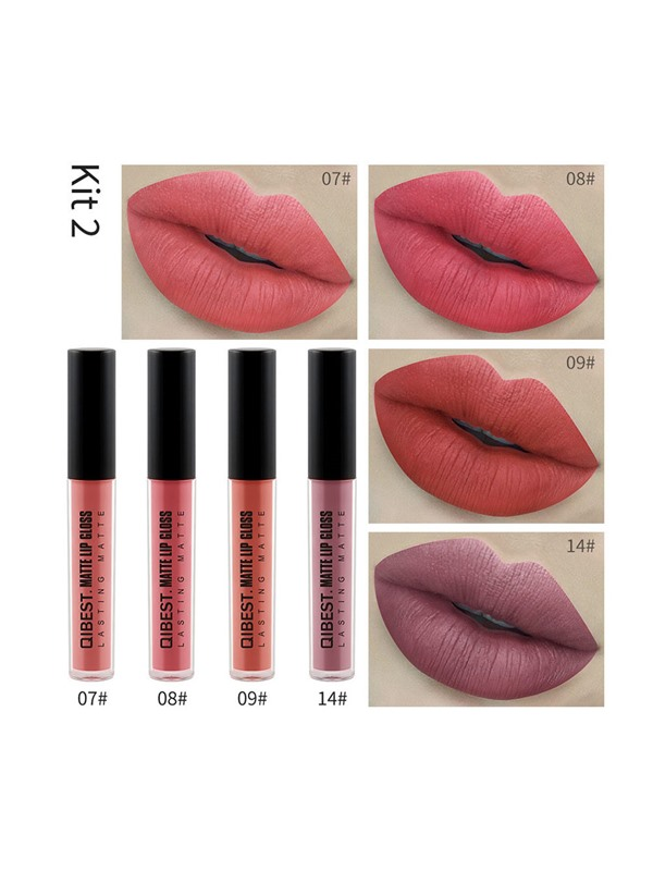 4 Color Matte Liquid Lip Gloss Set