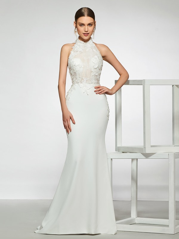 Mermaid Halter Beading Lace Wedding Dress 2019