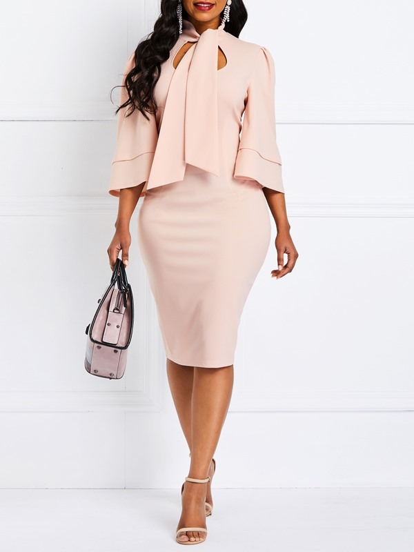 Three-Quarter Sleeve Knee-Length Bodycon Standard-Waist Women's Dress