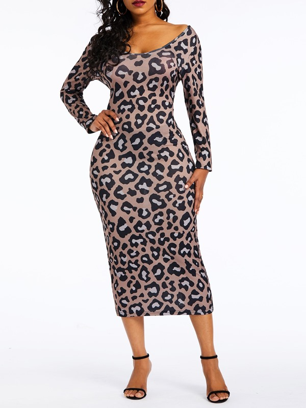 Mid-Calf Long Sleeve Off-The-Shoulder Print Women's Bodycon Dress