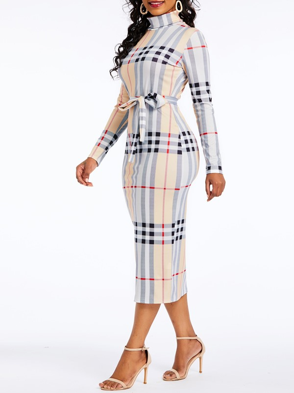 Mid-Calf Plaid Polyester Pullover Women's Bodycon Dress