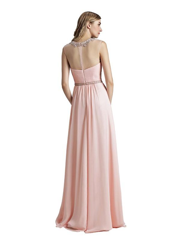 Sleeveless Floor-Length A-Line Scoop Prom Dress 2019
