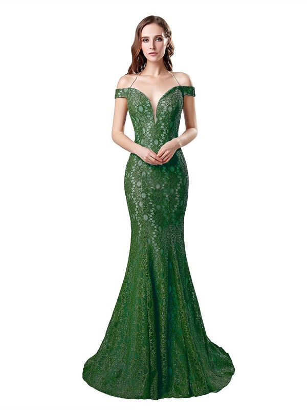 Trumpet Brush Train Lace Floor-Length Evening Dress 2019
