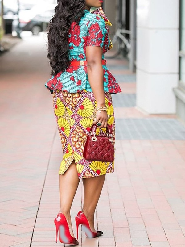 Print Floral Blouse Skirt Women's Two Piece Set (Without Belt)