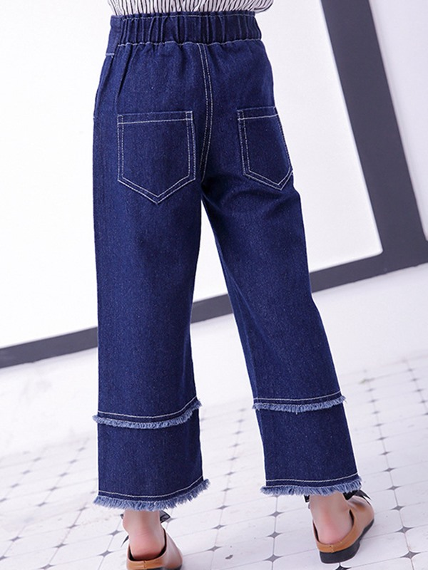 Wide Legs Denim Lace-Up Loose Girls' Jeans