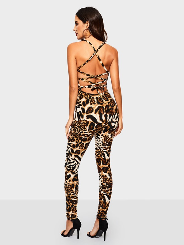 Leopard Animal Print Backless Slim Straps High Waist Women's Jumpsuit