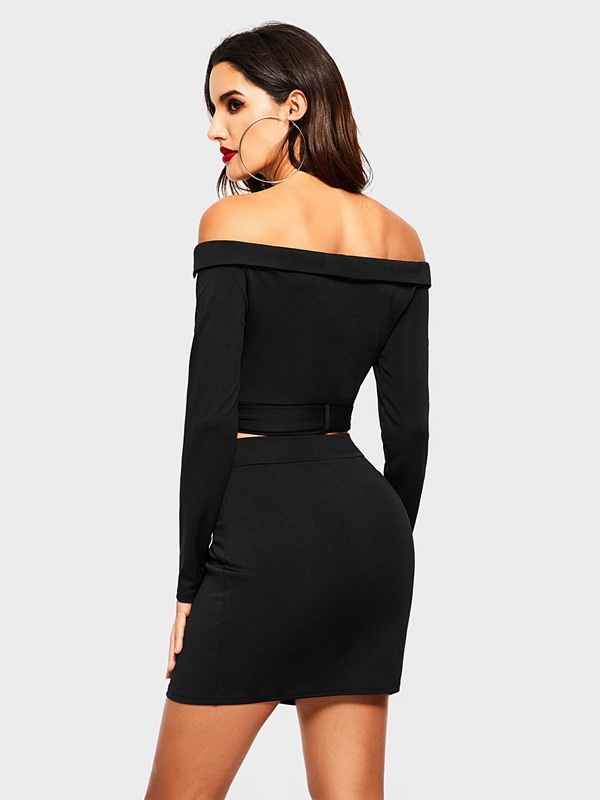 Off Shoulder Zipper Jacket Bodycon Skirt Women's Two Piece Set
